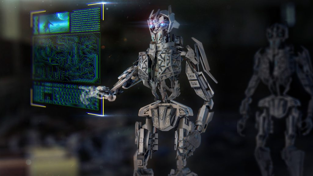 A robot interacting with a hologram