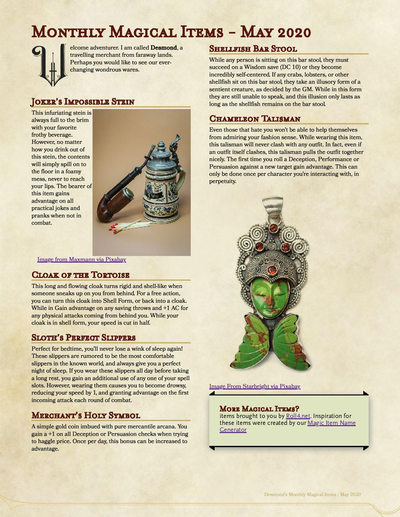 Roll4 Monthly Magical Items